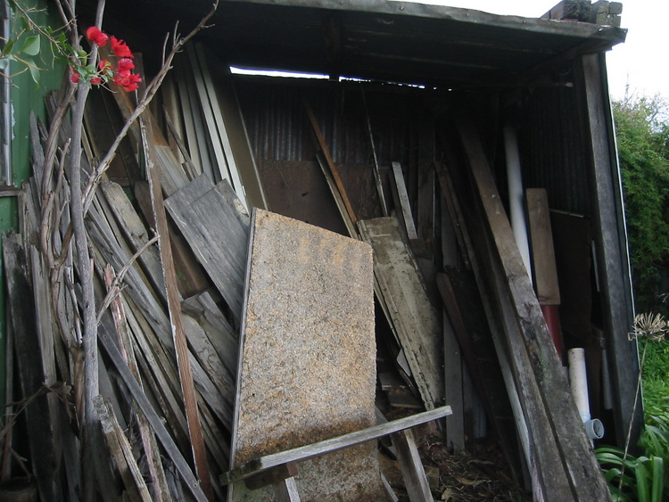 Old pieces of wood, piled up
