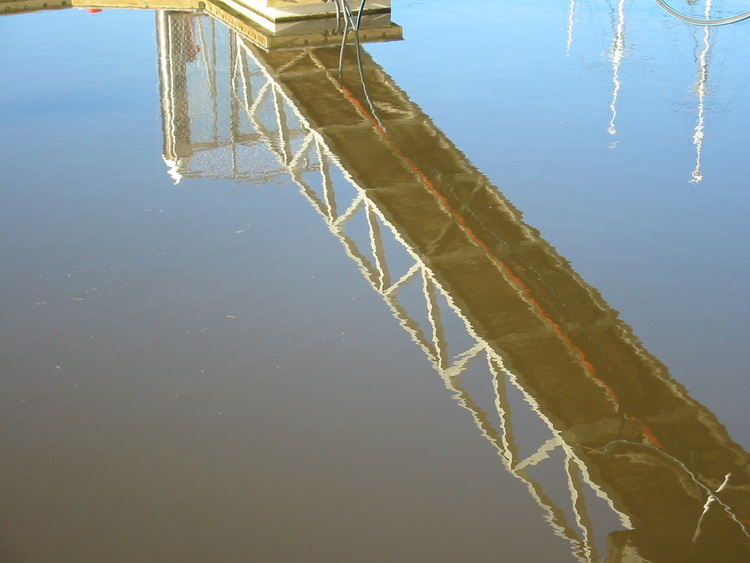 gangway reflection in water
