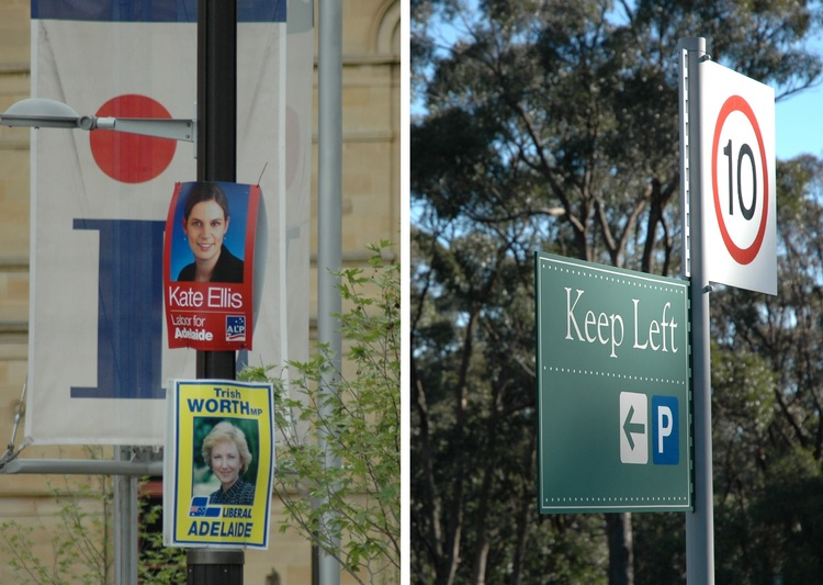 Election posters, and a 'Keep Left' sign