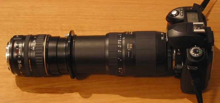 Two lenses joined front-to-front with filter adapters