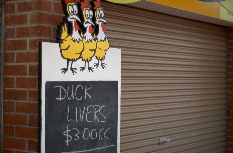 Sign reading 'Duck Livers'
