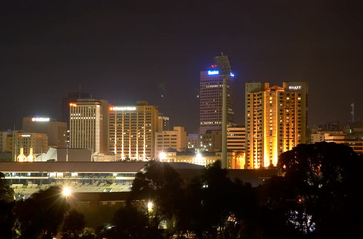 Adelaide seen from Montefiore Hill at night