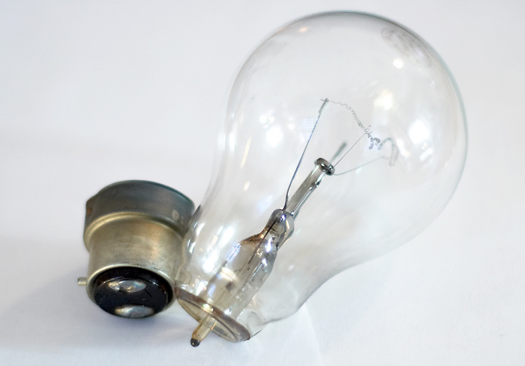 A broken light bulb