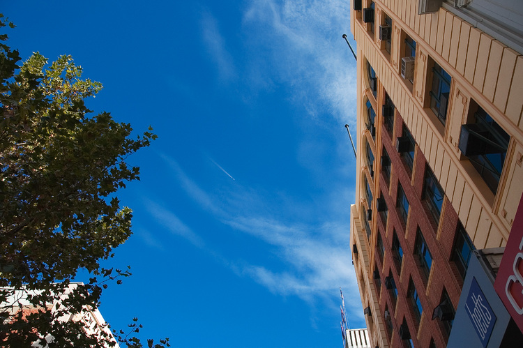 Looking skyward, in Rundle Mall, Adelaide