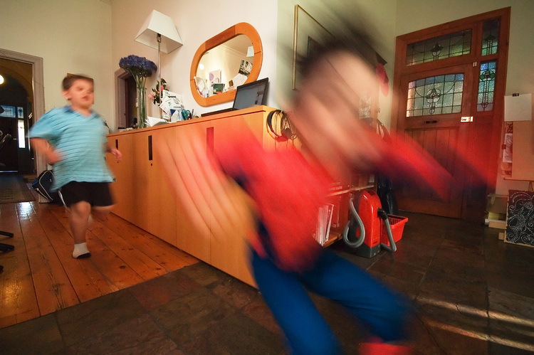Michael being chased through the house