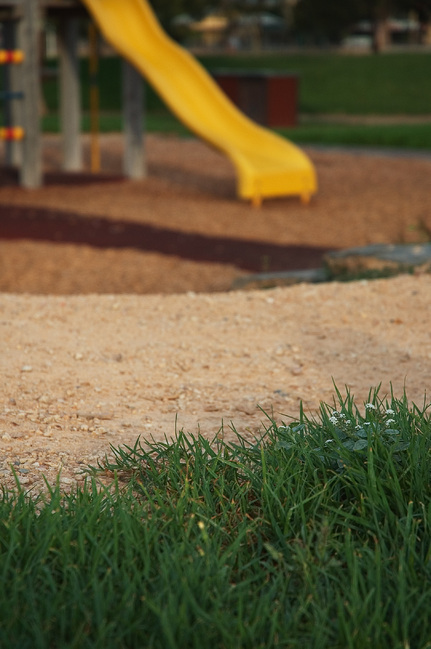 Grass with a path and play equipment in the background