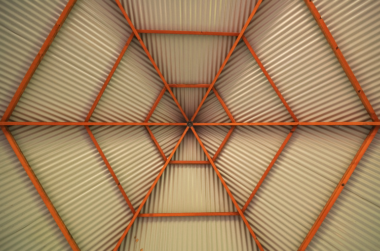 The underside of a corrugated iron roof