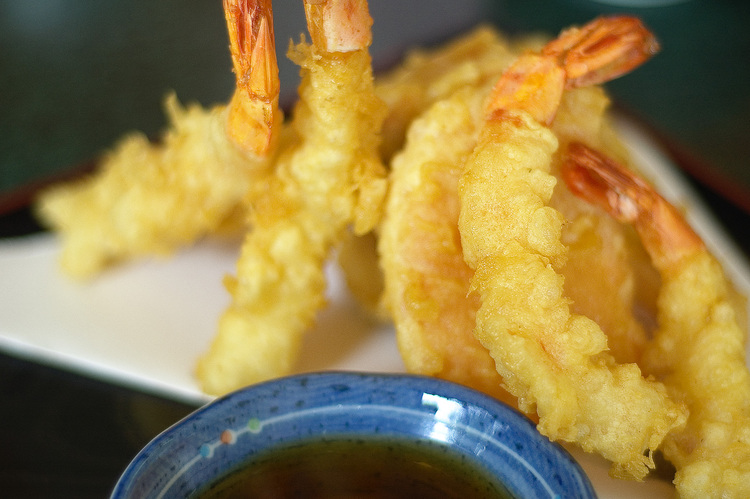 Closeup of tempura prawns