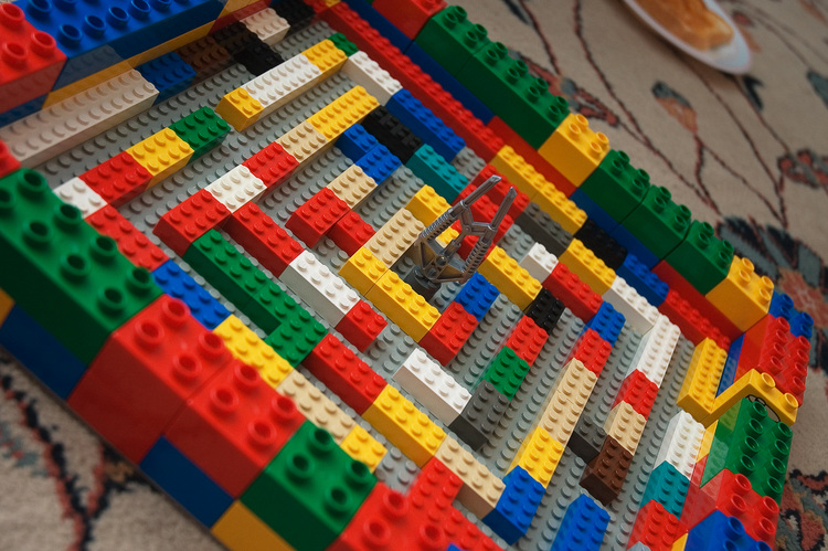 Closeup of a small maze made from lego