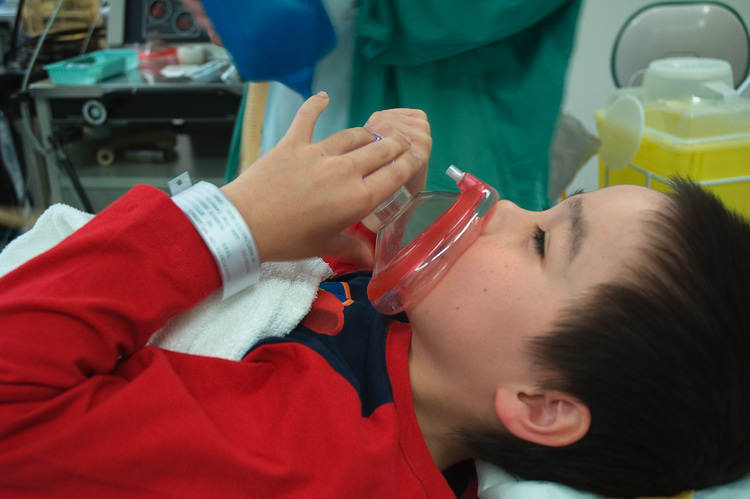 Michael breathing in anaesthetic prior to an operation