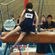 Michael on the pommel horse at a gymnastics competition